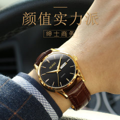 欧利时正品新款手表男士时尚潮流防水夜光手表6898 棕皮黑面 6898男