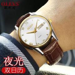 新款欧利时正品手表皮表带双历男表防水5568 棕皮白面 5568男