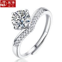 左传 公主皇冠一克拉莫桑钻D色戒指订结婚生日礼物火彩闪耀 一克拉皇冠戒指 一克拉皇冠戒指