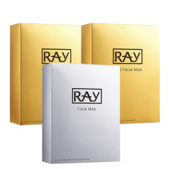泰国妆蕾RAY蚕丝面膜金色2盒+1盒银色 妆蕾版 10片/盒女补水保湿面膜