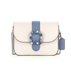 【美国直邮】COACH蔻驰女士老花镶钻单肩斜跨链条盒子包C3415 白色蓝色