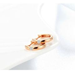 GOLDBEST金贝珠宝 18K金玫瑰色钻石简洁风时尚新潮耳钉耳饰耳环GKGE404006