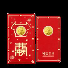 GOLDBEST金贝珠宝 黄金足金999金币红包压岁钱属你最牛 GHGB420103 牛转乾坤 约0
